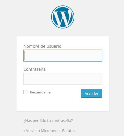 Pantalla login en wordpress