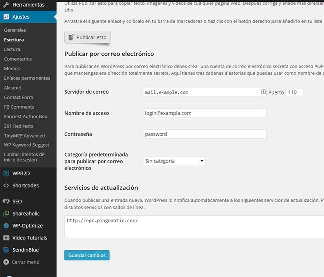 Lista de ping en WordPress (Backend)