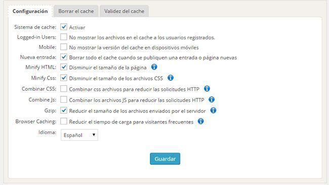 velocidad en tu blog plugin cache