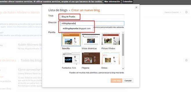 Crear un nuevo Blog Paso 2