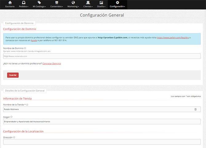 Configurar datos generales de la tienda y dominio