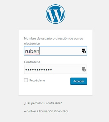 Pantalla de Acceso a WordPress