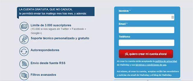 Crear cuenta gratuita - publicidad por email