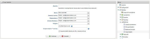 Crear un nuevo boletin de email