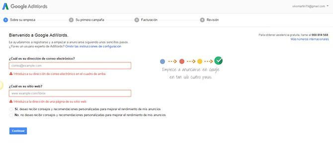 Registro Google Adwords