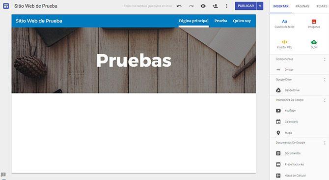 Pagina web con Google Pruebas