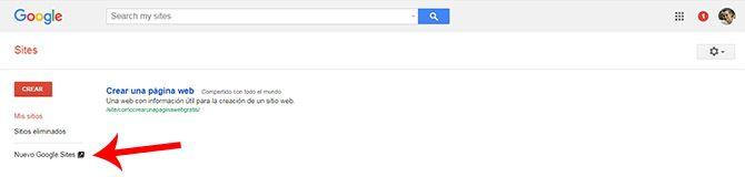 Web con Google - Opcion Nuevo Google Site