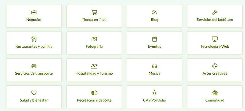 categorias web para elegir