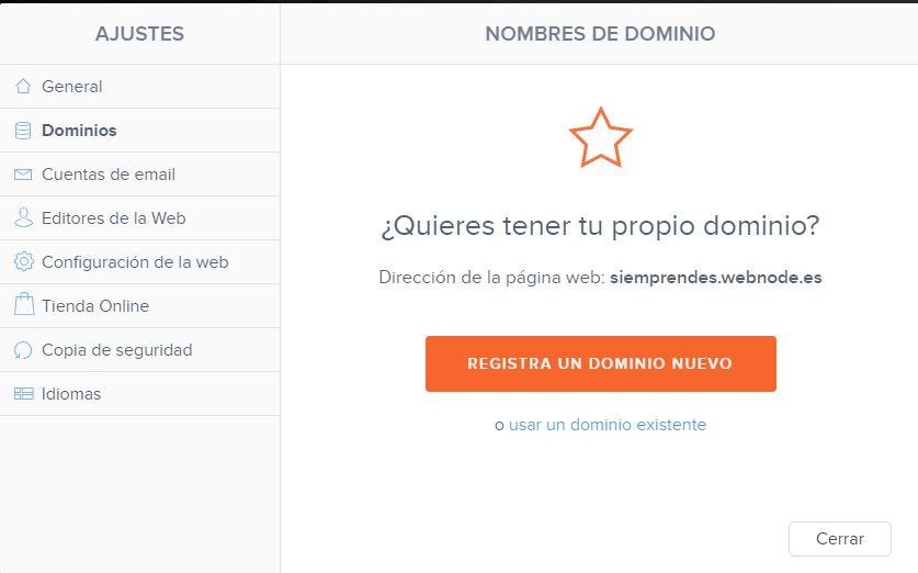 Dominio Webnode propio