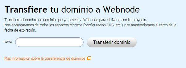 Transferencia dominios a Webnode