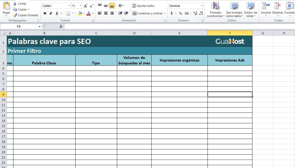 plantilla excel seo local
