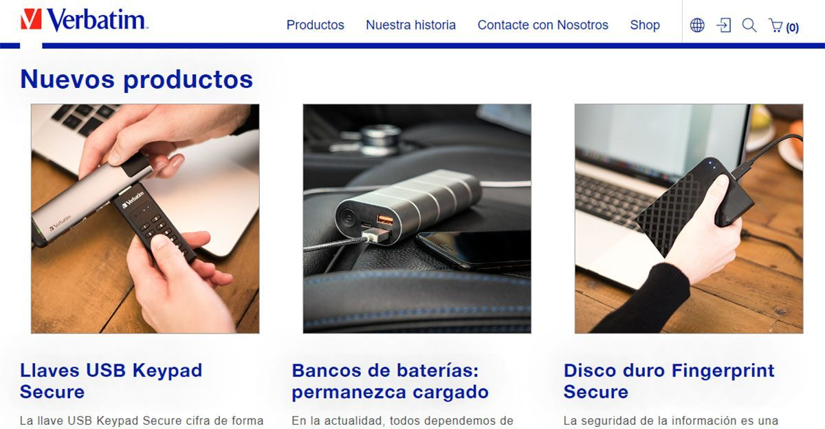 Ejemplo Web Corporativa (www.verbatim.es)